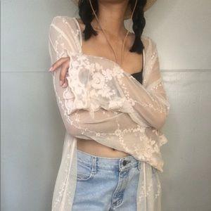 Pink plaster lace robe/ cardigan